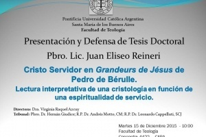 El Padre Eliseo Reineri presentará su Tesis Doctoral